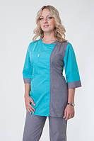 Коттоновый медицинский костюм на молнии, серо-бирюзового цвета