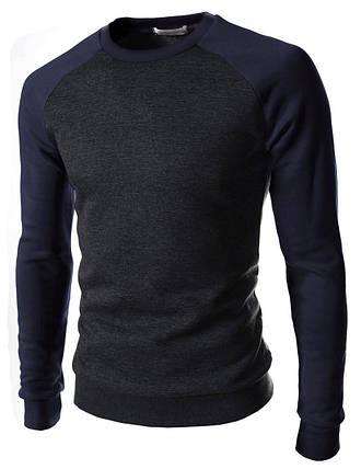 Мужской свитшот с рукавами реглан темно-синего цвета, фото 2