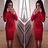 Женское трикотажное платье с поясом, длинный рукав