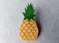Нашивка фрукты из фетра Ананас для рукоделия и творчества