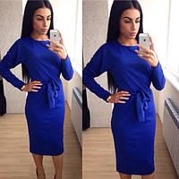 Женское платье миди с поясом, синий