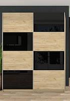 Шкаф-купе Квадро 1500 комбинированный матовый+глянцевый фасад