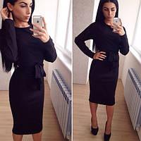 Женское платье миди с поясом, черный