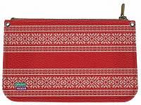 Милая женская кожаная косметичка СКАНДИНАВСКИЙ УЗОР 11-0114-015 Девайс Мейкер