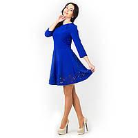 Платье с перфорацией синие