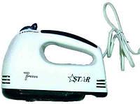 Миксер STAR-133: 7 скоростей, венчики, крюки для теста, 180 Вт, кнопка отсоединения насадок