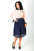 Стильная женская юбка-миди с вставками из эко-кожи