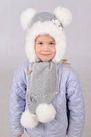 Зимний детский набор из шапки и шарфа с помпонами