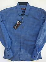 Рубашка голубая на кнопке для мальчиков 10-15 лет