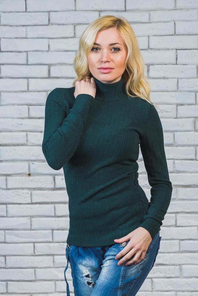 Водолазка женская шерсть-рубчик зеленая