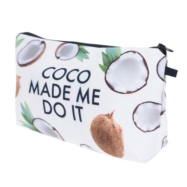 Модная косметичка с рисунком кокосов