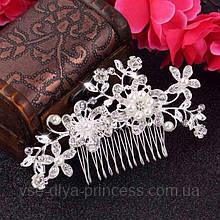 Гребінь квіти з перлами під срібло у зачіску