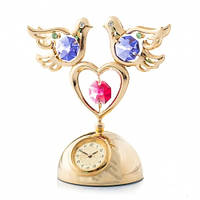 """Позолоченные часы с кристаллами Swarovski """"Два голубя на сердце"""""""