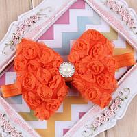 Бант бантик для волос Кружево оранжевый детский бантик украшения детские для волос