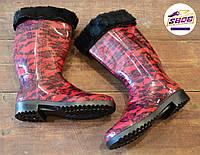 Красные резиновые сапоги женские Litma с утеплителем