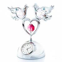 """Фирменные часы с кристаллами Swarovski """"Два голубя на сердце"""""""