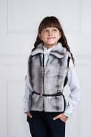 Детский меховой жилет с поясом