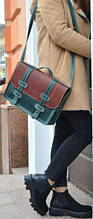Женский портфель из кожи Babak 8635 зеленый-коньяк