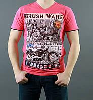 Оригинальная мужская летняя футболка кораллового цвета
