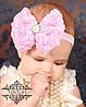 Бант бантик для волос Кружево розовый детский бантик для волос, фото 2