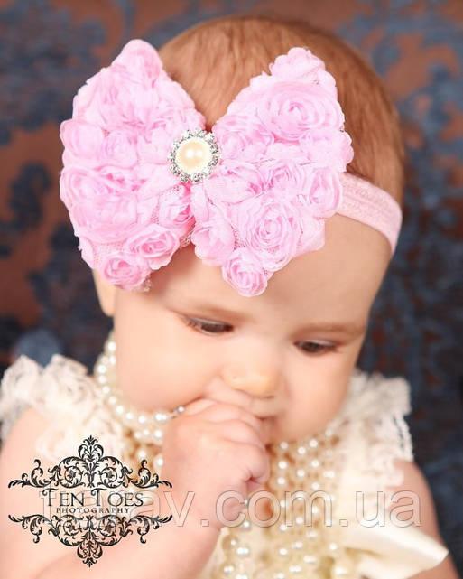 Бант бантик для волос Кружево розовый детский бантик для волос