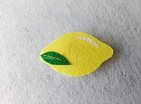 Нашивка фрукты из фетра Лимон для рукоделия и творчества