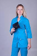 Коттоновый бирюзовый медицинский костюм больших размеров