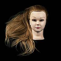 Учебная голова-манекен на штативе 55-60 см. 100% натуральных волос, фото 1