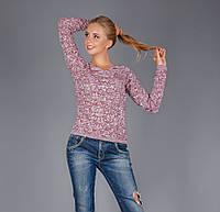 Ажурный женский пуловер из натуральной хлопковой пряжи