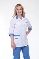 Классический бело-синий женский медицинский костюм на пуговицах, больших размеров