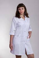 Батистовый белый медицинский халат с карманами