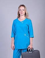 Женский бирюзовый медицинский костюм. Размеры 42-60