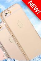Силиконовый золотой чехол с камнями Сваровски для Iphone 6 6S, фото 1