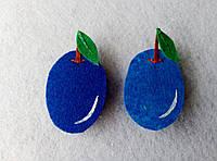 Нашивка фрукты из фетра Слива для рукоделия и творчества