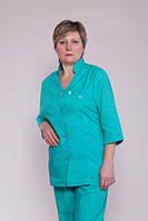 Батистовый однотонный медицинский костюм, бирюзового цвета, больших размеров