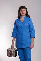 Классический синий женский медицинский костюм больших размеров.