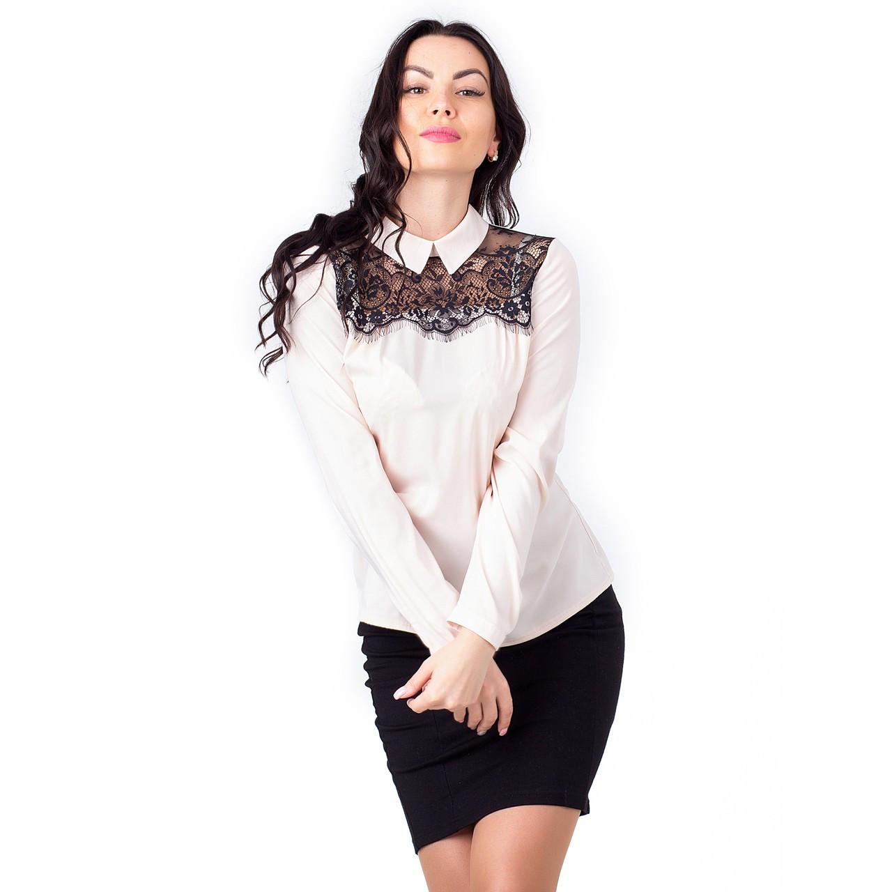 7c4bde8ebb6 Женская молодежная рубашка с кружевом молочная - bonny-style в Днепре