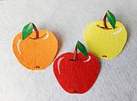 Нашивка фрукты из фетра Яблоко для рукоделия и творчества