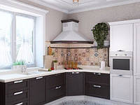 Угловая кухня в классическом стиле с угловой вытяжкой