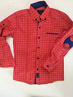Рубашка коралловая на кнопках, заплатки на локтях для мальчиков 6-14 лет