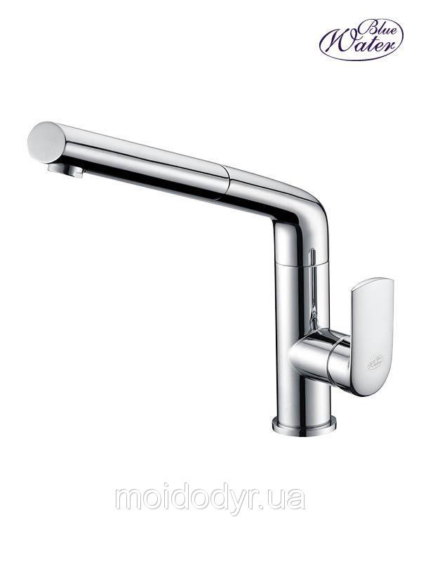 Смеситель для кухни с выдвижным душем Blue Water Stil хром