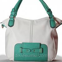 Женская сумка Giorgio Ferrilli белая с светло зеленой отделкой