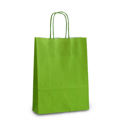 Крафт-пакет 18х08х25 светло-зеленый с витыми ручками