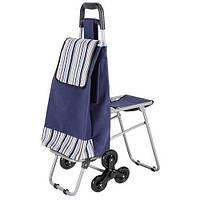 Хозяйственная сумка на колесах со складным стулом