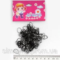 Резинка для волос силиконовая тонкая (мини) черная