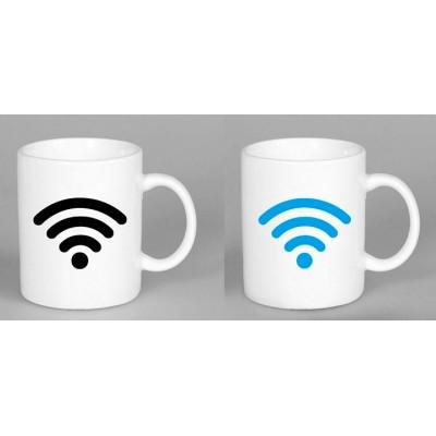 Кружка-чашка хамелеон WI-FI белая