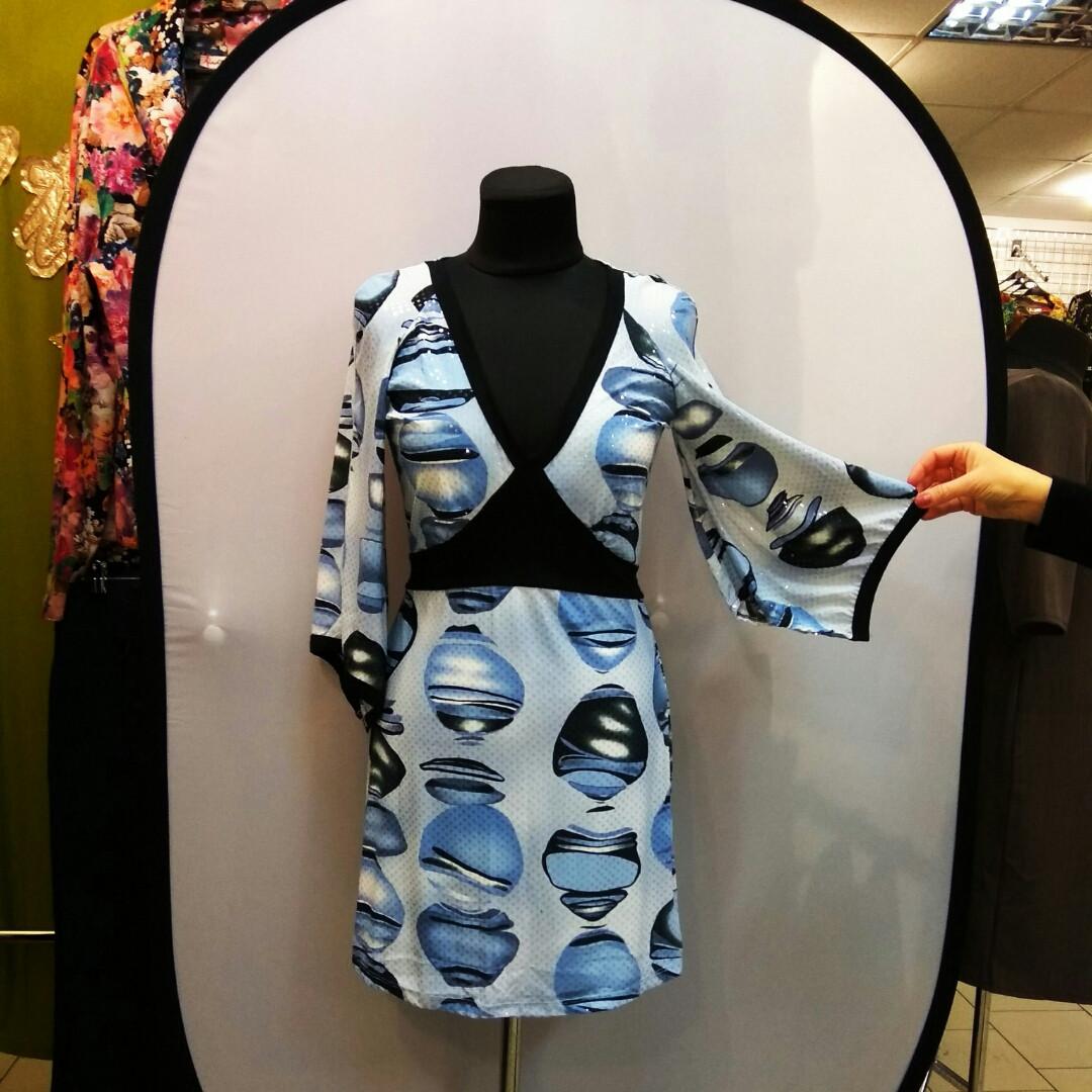 Туніка блакитне плаття нарядне кимано трикотаж 429131