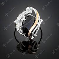 Серебряное кольцо с граненым ониксом. Артикул П-198