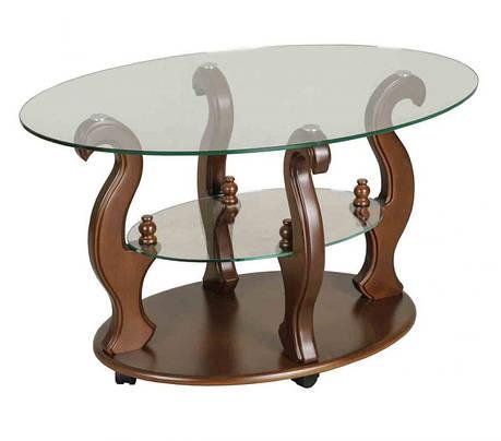Стеклянный журнальный столик на колесиках  ДС-2 Шарм Антоник, цвет на выбор, фото 2