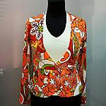 Блуза жакет двойка с длинным рукавом и белой майкой, фото 4